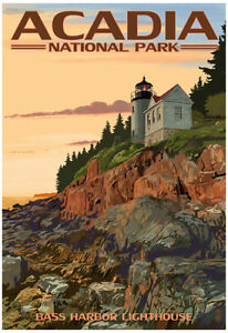 Acadia National Park, Maine - Bass Harbor Lighthouse Poster Print, 13x19