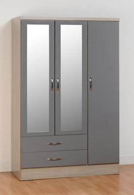 NEVADA 3 DOOR 2 DRAWER WARDROBE IN GREY HIGH GLOSS/LIGHT OAK EFFECT VENEER
