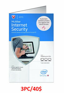 Antivirus McAfee 3 PC Internet Security/Total Protection 2015