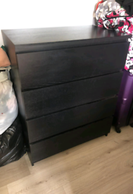 Black IKEA Malm Chest of Drawers (4 drawer)