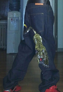 Tiger embroidery jeans