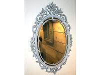 Rococo Oval Wall Mirror Grey - Baroque Ornate Antique Style