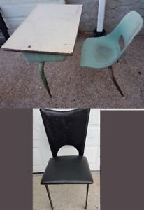 antique desk, and Bench and chairs