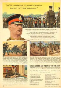 Large 1954 full-page, color ad for the Canadian Guards