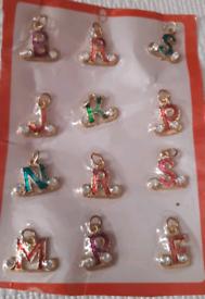 gold plated gemstone letter pendants