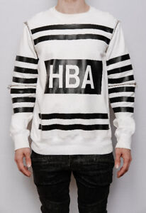 Hood By Air | White & Black Striped Zip Sweater