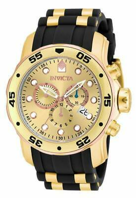 Invicta Men's Watch Pro Diver Scuba Chrono Gold Tone Dial Two Tone Strap 17884