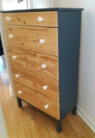 Trendy Upcycled Tall Chest Of Drawers