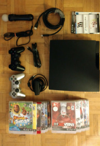160gb PS3 + 11 games + 2 controllers + move controller w/ camera