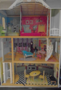 Wooden Barbie Dollhouse with Furniture