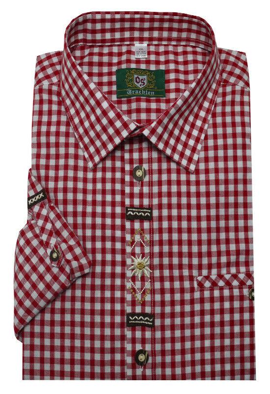 Orbis Trachtenhemd rot weiß kariert +Stickerei + Krempelarm OS-0362 Regular Fit