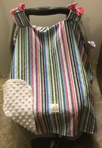 Car Seat Canopy - Multi-Coloured Stripped Pattern - New - Custom