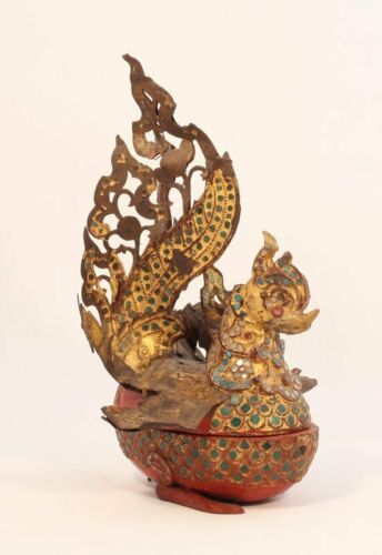 Burmese 19thc Lacquered and Gilt Bird Box with Mirror