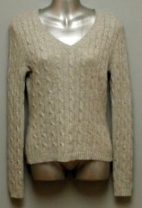 LORD & TAYLOR -Light Gray 2-Ply Cashmere Sweater, 'V' Neck