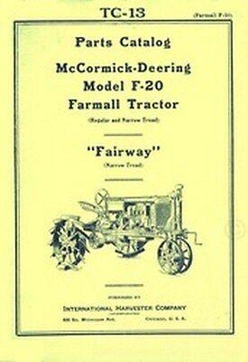 Farmall F-20 Regular Narrow Fairway Part Catalog Manual