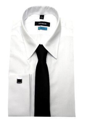 Krawatte, Weißes Hemd (HUBER Umschlag-Manschetten Hemd weiß +Krawatte +Mansch.-Knöpfe HU-6361 Slim Fit)