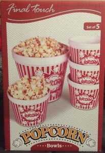Glass Set of 5 Popcorn Bowls