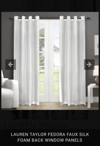 (3) Lauren Taylor Faux Silk Thermal Foamback Curtains in Ivory