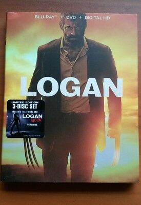 Logan  Blu Ray Dvd Digital Hd  2017  3 Disc Limited Ed   Noir  New W  Slipcover