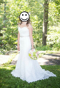Strapless lace wedding gown - dress size 12/ street size 8-10