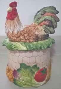 """FITZ & FLOYD Classics """"Country Road"""" Figural Rooster  Canister"""