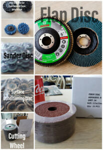 Abrasives such as: Cutting wheel,  sander disc, flap disc