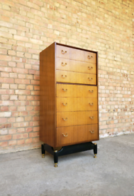 Vintage mid century G Plan Librenza tallboy chest of drawers