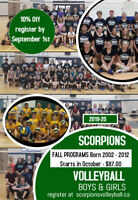 Scorpions Youth Volleyball Fall Programs Ages 7-18 Girls & Boys