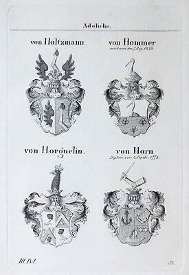 1836 4 Wappen von Holtzmann Hommer Horguelin Horn Kupferstich Tyroff