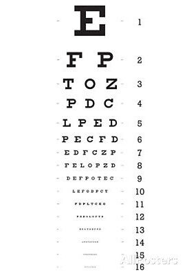 Eye Chart 16 Line Reference Poster Poster Print  13X19