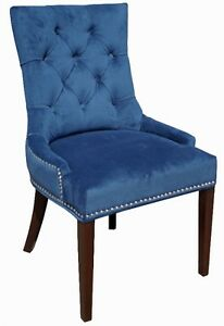 Blue n Black Fabric Dining Room Chair with NailHeads
