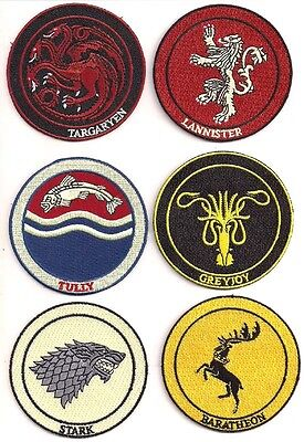 6x Game of Thrones Wappen Logo - Uniform Patch Aufnäher Set 6 Stück neu
