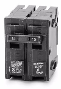 Lot of 4 Siemens 15A Dual Pole 120/240V Q Type Breakers