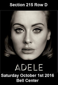 Adele, Samedi 01/10/16, Centre Bell, Section Club 2015-D