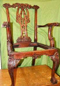 Antique Hand-Carved Chippendale Dining Chairs Set