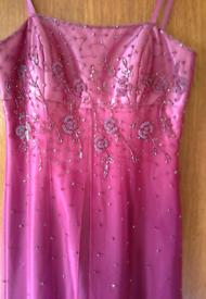 "Morgan &Co pink sequences long evening/ball dress size 6 32"" chest"