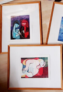 "Picasso, Chagall posters in wooden frames  20"" X 16,5"""