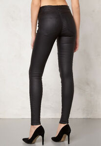 VILA coated skinny jeans in black