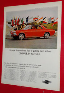 BEAUTIUFL 1965 CORVAIR SPORTS SEDAN VINTAGE AD - ANONCE RETRO