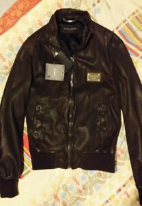 New Dolce & Gabbana Leather Bomber Jacket 48 M diesel jeans hat