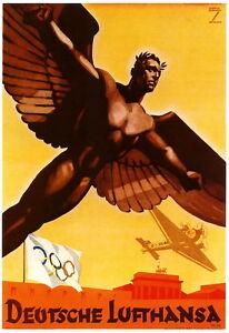German Berlin Olympics 1936 Deutsche Lufthansa Poster