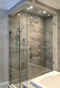 CUSTOM GLASS SHOWERS, MIRRORS, RAILINGS