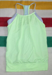 IVIVVA BY LULULEMON DOUBLE DUTCH TANK LIME GREEN GREY SIZE 14