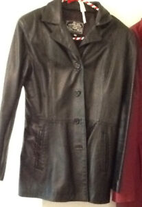 LEATHER JACKET also COAT sizes S-M.  COME TRY ON!!!!