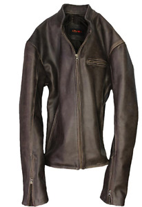 Mens Distressed Vintage  Leather Jacket - Men's Med/Sm