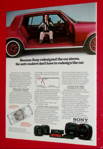 1982 SONY CAR SPEAKERS AD WITH OLDSMOBILE CUTLASS SEDAN RETRO