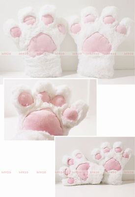 Anime Animal Kitty Claw Paws Gloves Halloween White Cat Mittens Cosplay Props  ()