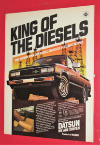 1982 DATSUN KING CAB DIESEL PICKUP TRUCK AD - ANONCE VINTAGE 80S