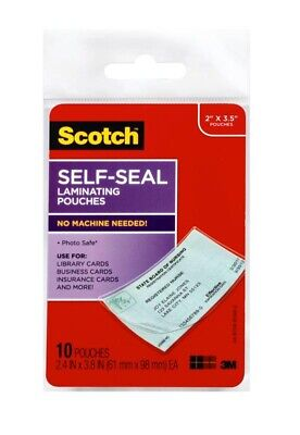 Scotch Self-sealing Laminating Id Badge Pouches Business Card 10-pack