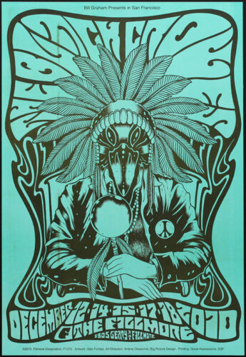 The Black Crowes Fillmore SF 12/12/2010 Blue Poster F1075 Alan Forbes Cyan RARE!